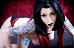 Hot tattooed goth chicks exposing their lusciously formed body. - XXXonXXX - Pic 1