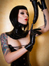 Wild black haired goth beauty exposing themselves…
