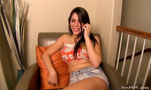 Big-titted brunette hottie gets her awesome booty sprayed with jizz - XXXonXXX - Pic 1