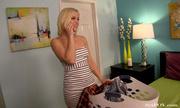 dirty blonde hottie undresses