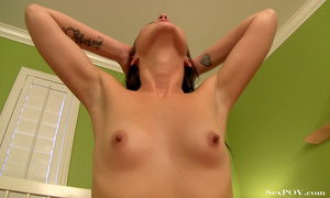 Small-titted ponytailed brunette in long socks fingers her ass and pussy and gets shot on cam POV - XXXonXXX - Pic 15