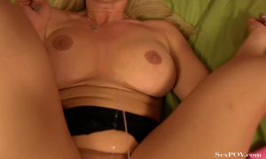 Gorgeous blonde MILF with huge melons licking them and showing off her shaved twat - XXXonXXX - Pic 22
