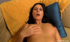 Hot brunette babe trying to stretch her twat widely - XXXonXXX - Pic 11