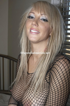 Busty blonde mom in fishnet blouse tugging dude's dick while drilling his ass with a strapon - XXXonXXX - Pic 3