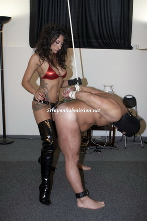 Hot brunette mistress in red bra and high boots fucking her fat slave with a strapon - XXXonXXX - Pic 4