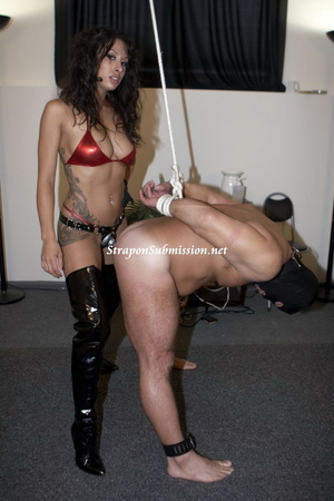 Hot brunette mistress in red bra and high boots fucking her fat slave with a strapon - XXXonXXX - Pic 8