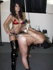 Hot brunette mistress in red bra and high boots - XXXonXXX - Pic 9