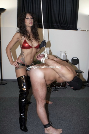 Hot brunette mistress in red bra and high boots fucking her fat slave with a strapon - XXXonXXX - Pic 9
