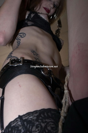 Small-titted tattooed mistress torturing her slave's balls while toying his pooper with a strapon - XXXonXXX - Pic 5