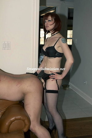 Brunette Mistress and her ponytailed assistant fucking a masked dude with strapons - XXXonXXX - Pic 6