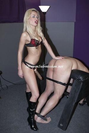Kinky blonde mistress fucking her slave's mouth and ass with a strapon - XXXonXXX - Pic 4