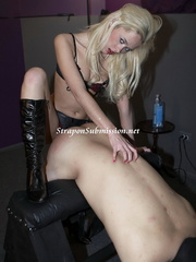 Kinky blonde mistress fucking her slave's mouth - XXXonXXX - Pic 12