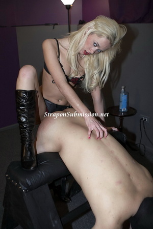 Kinky blonde mistress fucking her slave's mouth and ass with a strapon - XXXonXXX - Pic 12