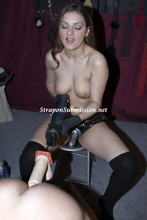 Brunette mom in high boots uses a fucking machine and a strapon to fuck her poor slave - XXXonXXX - Pic 14