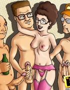 Dale Gribble bangs chick as she sucks Bobby and then chick sucks his cock