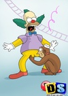 Krusty bangs Marge's pussy on table and gets a blowjob from monkey