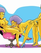 Nedward Flanders bangs Marge standing and she rides his cock on sofa