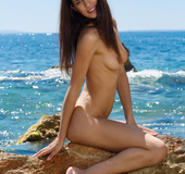 Teen brunette hottie shows off her natural naked body by the sea