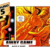 Dude from hot porn comics Away Game licking red chick's pussy before hard