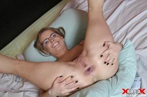 Slutty blonde chick in glasses sucks big cock and takes it up her wide asshole - XXXonXXX - Pic 12