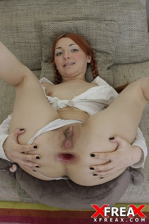 Young red head ponytail chick takes big cock in mouth and asshole to orgasm - XXXonXXX - Pic 18