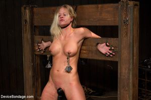 Guy binds sexy blonde, clips her pussy a - XXX Dessert - Picture 1