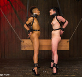Black and white sluts chained and tied made to lick cunt and get fingered