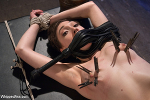 Hot babe with hairy pussy gets tied, whi - XXX Dessert - Picture 1