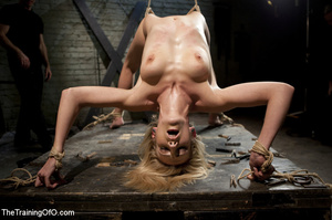 Roped blonde gets pegged, sucks cock and - XXX Dessert - Picture 2