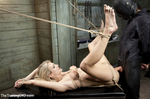 Roped blonde gets pegged, sucks cock and - XXX Dessert - Picture 14