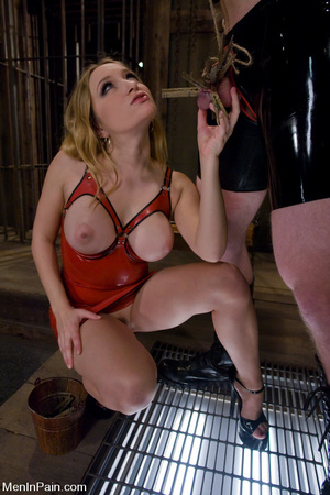 Blonde mom with big boobs in red latex d - XXX Dessert - Picture 14