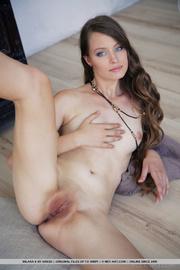 beautiful young brunette enjoys