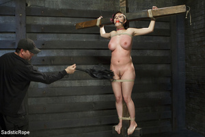 Guy ties cute chick to wooden cross, cli - XXX Dessert - Picture 2
