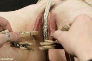 Guy ties cute chick to wooden cross, cli - XXX Dessert - Picture 5