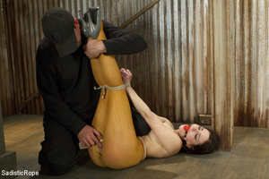 Guy ties girl's hands, feet and tits, wh - XXX Dessert - Picture 1