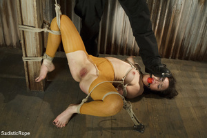 Guy ties girl's hands, feet and tits, wh - XXX Dessert - Picture 5