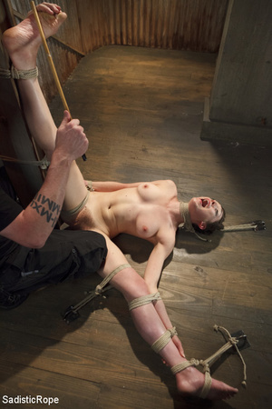 Young babe gets stripped, roped and hung - XXX Dessert - Picture 15