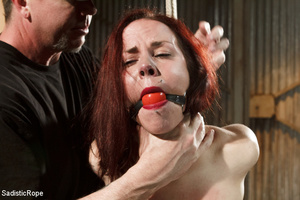 Guy in cap ties chick with rope, chokes  - XXX Dessert - Picture 2