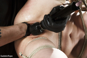 Guy in cap ties chick with rope, chokes  - XXX Dessert - Picture 7