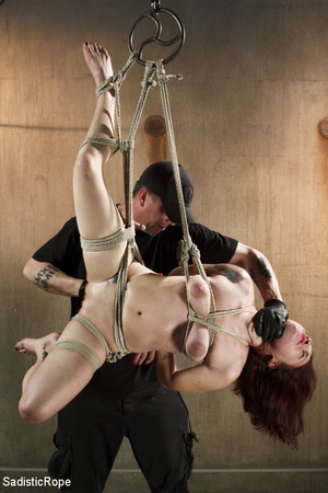 Guy in cap ties chick with rope, chokes  - XXX Dessert - Picture 9