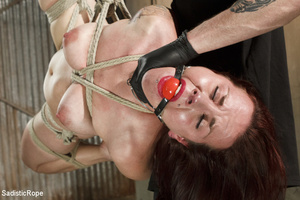Guy in cap ties chick with rope, chokes  - XXX Dessert - Picture 10