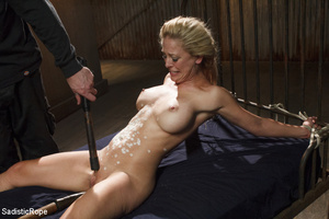 Guy in black ties blonde with rope, susp - XXX Dessert - Picture 13