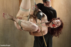 Guy in cap ties chick with rope, chokes  - XXX Dessert - Picture 14