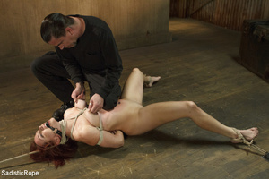 Redhead babe is roped and hung as guy sp - XXX Dessert - Picture 3