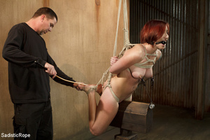 Redhead babe is roped and hung as guy sp - XXX Dessert - Picture 5