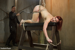Redhead babe is roped and hung as guy sp - XXX Dessert - Picture 8
