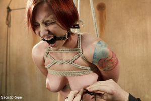 Redhead babe is roped and hung as guy sp - XXX Dessert - Picture 13