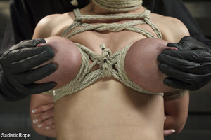 Hot blonde gets roped with her big tits  - XXX Dessert - Picture 1