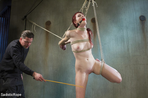 Slim babe gets roped and hung by guy in  - XXX Dessert - Picture 2