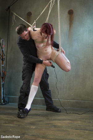 Slim babe gets roped and hung by guy in  - XXX Dessert - Picture 3